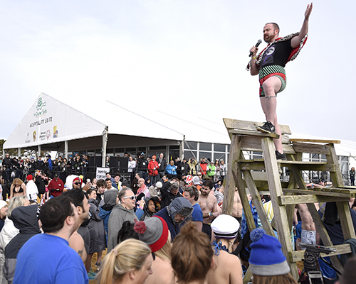 The 2019 Maryland State Police Polar Bear Plunge event to benefit Special Olympics Maryland at Sandy Point State Park in Annapolis on Saturday, Jan. 26, 2019. (Photo by Steve Ruark for SOMD)
